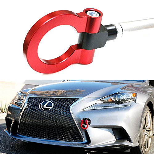 iJDMTOY Sports Red Track Racing Style Aluminum Tow Hook For 2006-up Lexus IS, 2011-up CT, 2006-up GS, 2007-up LS, 2012-up Lexus RX facelift