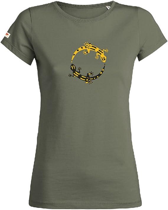 OVIVO-Inspired by Nature - Camiseta Salamandras 100% algodón orgánico - Kaki Safari - Mujer