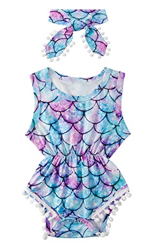Baby Girl Clothes Purple Cute Fish Scale Bodysuit Romper Sleeveless Bodysuits Outfits with Bowknot Headband Red 3-6 Months