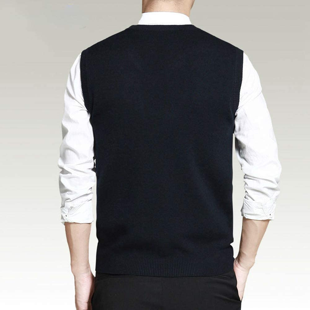 Friendshiy Mens Vest Sweaters Casual Style Wool Knitted Business Men Sleeveless Vest Brown Gray Black