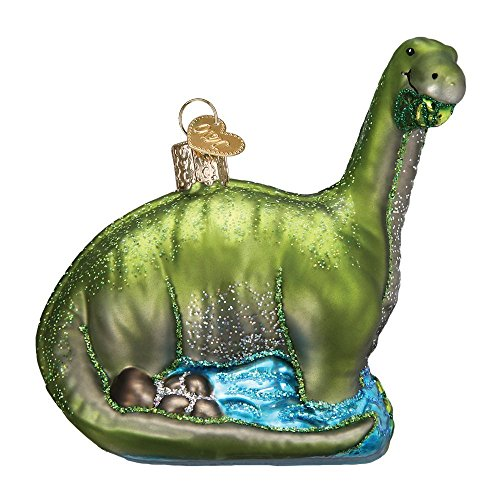Brontosaurus Glitter Glass Christmas Ornament -
