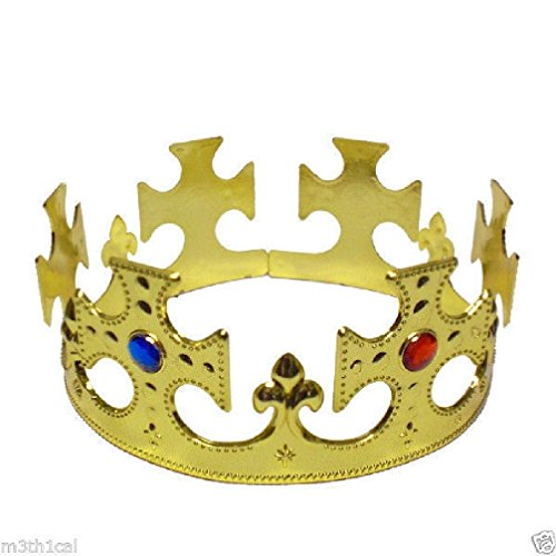 Gold Glitter Jeweled Queens Crown (King Kings Queen Gold Crown Jeweled Adult Medieval English Costume Hat Prop)
