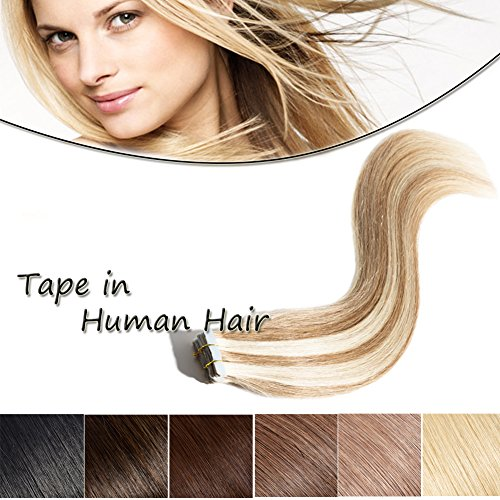 20-22 Inch Tape in Human Hair Extensions 100% Remy Straight Human Hair Professional Seamless Tape Skin Weft Extensions 20pcs 50g/pack Golden Brown & Bleach Blonde(22'',#12/613)+ 10pcs Free Tapes ()