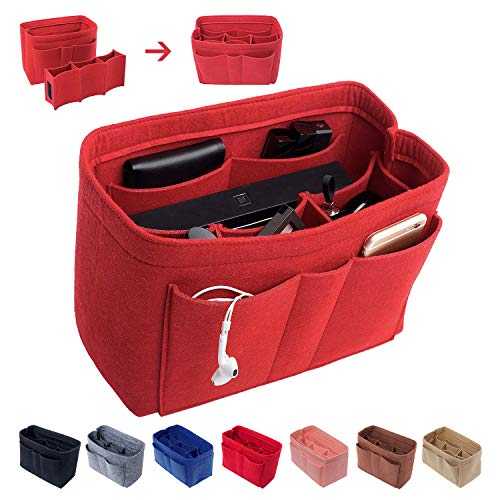 - Felt Insert Bag Organizer Purse Organizer, Handbag Bag in Bag for Speedy Neverful Longchamp,Medium,Red(style 1)
