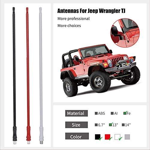 Red Bosmutus AM FM Radio Antenna Replacement 7 inch Aluminum Antenna for 2007-2018 Wrangler JK JL 2 Door and 4 Door