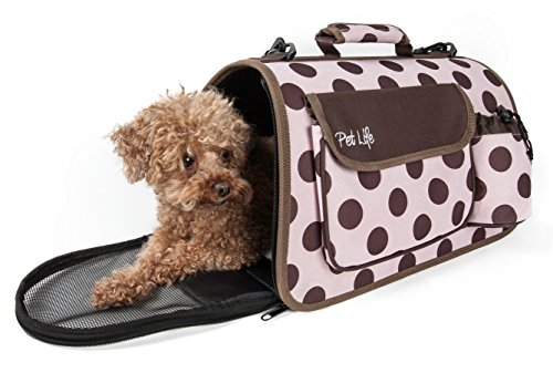 PET LIFE Folding Zippered Casual Airline Approved Fashion Travel Pet Dog Carrier with Bottle Holder, Large, Plaid (Plaid Carrier Pet)