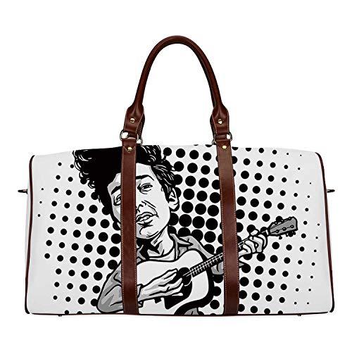 Bob Dylan Decor Waterproof Travel Bag,Pop Art Cartoon Style Musician Playing Guitar Folk Music Singer Icon Decorative for Travel,18.62