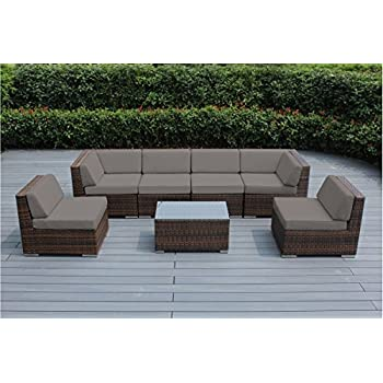 Genuine Ohana Outdoor Patio Sofa Sectional Wicker Furniture Mixed Brown 7pc Couch Set Sunbrella Taupe