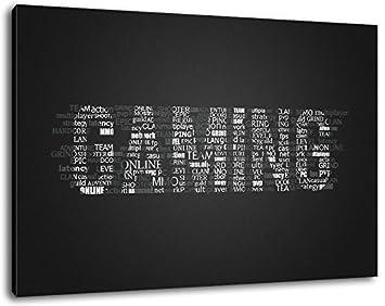 Gaming Schriftzug Format:100x70 cm Bild auf Leinwand bespannt, riesige XXL Bilder komplett und fertig gerahmt mit Keilrahmen, Kunstdruck auf Wand Bild