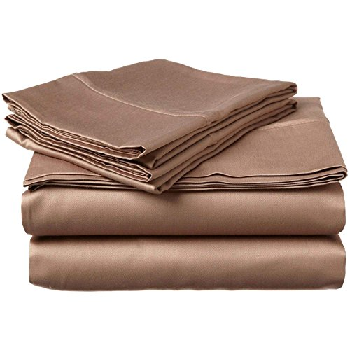 "Price comparison product image JB Linen 400 Thread Count 100% Pure Egyptian Cotton 4-Piece Sheet Set Queen Bed Size (60"" x 80"") Taupe Solid Fit Up To 9"" Deep Mattress Limited Period Offer."