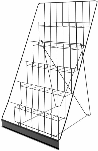 "FixtureDisplays 6-Tiered 18"" Wire Display Rack for Tabletops, 2.5"" Open Shelves, with Header - Black119352 119352"