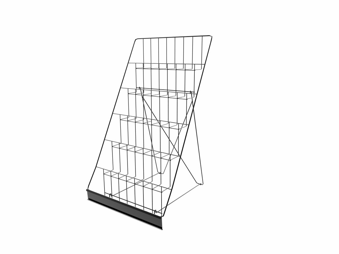 FixtureDisplays 6-Tiered 18'' Tabletop Wire Display Rack for Brochures and Pamphlets, 2.5'' Open Shelves, with Header - Black 119352