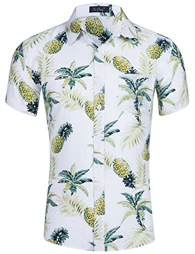 Floral Fabric Button (XI PENG Men's Tropical Short Sleeve Floral Print Beach Aloha Hawaiian Shirt (White Pineapple, XX-Large))