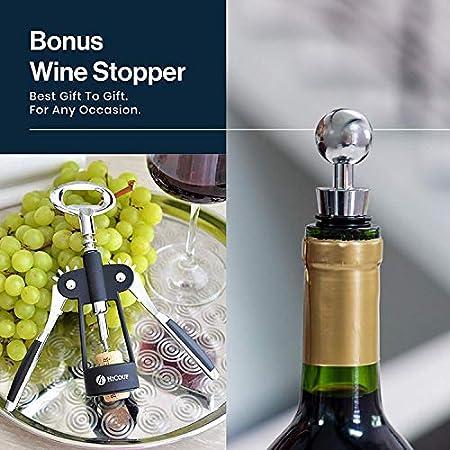 Abrebotellas Wing sacacorchos de HiCoup - Abrebotellas y abrebotellas todo en uno premium con tapón para vino extra en una caja de regalo de lujo