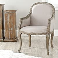Safavieh Mercer Collection Danni Side Chair with Nail Head, Beige and Antiqued Oak