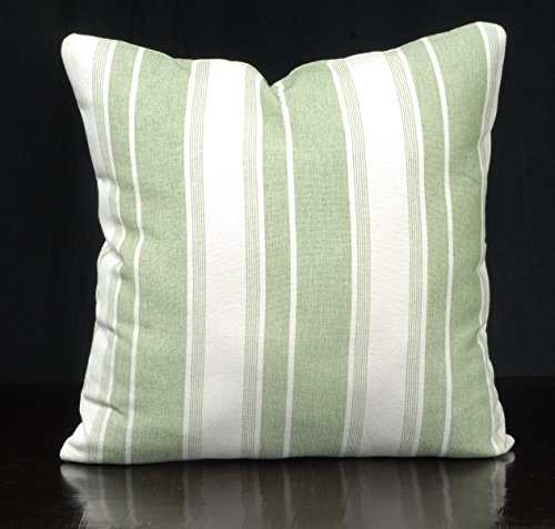 Throw pillow striped green cotton canvas fabric, Spring Summer natural cream green banded cushion, French nautical decorative pillow PIZ17 (Hill Summer Fabrics)