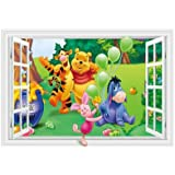 Fangeplus R DIY Removable 3D Cartoon Winnie the Pooh Piglet Tiger and Friends False Window Art Mural Vinyl Waterproof Wall Stickers Kids Room Decor Nursery Decal Sticker Wallpaper 23.6''x35.4''
