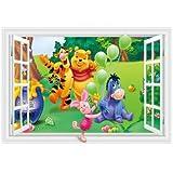 Fangeplus R DIY Removable 3D Cartoon Winnie the Pooh Piglet Tiger and Friends False Window Art Mural Vinyl Waterproof Wall Stickers Kids Room Decor Nursery Decal Sticker Wallpaper 23.6''x35.4''