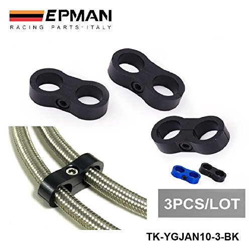 EPMAN Universal AN10 Billet Oil/Fuel/Water Hose Turbo Separator Divider Clamp (Black , Pack Of 3) RUIAN EP INTERNATIONAL TRADE CO. LTD
