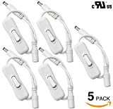 5-PACK UL-listed 12V DC Connector Inline Toggle Switch, on/off Switch, Male and Female Plug, Extension Wire/Cable/Cord for 3528/5050/5630 LED Strip Light and Other Low Voltage Applications