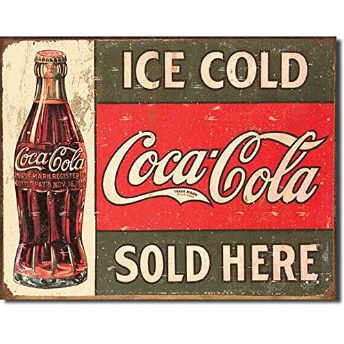 SRongmao Coca Cola Coke Ice Cold Sold Here Advertising Vintage Look Retro Decor Metal Tin Sign 8x12in