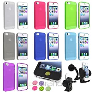 XMAS SALE!!! Hot new 2014 model Colorful Soft TPU Frosted Matte Case+Car Holder Mount+Sticks For iPhone 5 5sCHOOSE COLOR