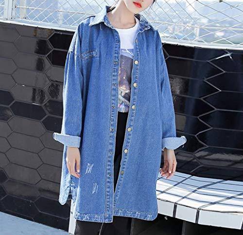Jean Coupe d'automne Vent Tendance Boutonnage Manteau Veste Simple Unique en CWJ Bleu Femme Taille yYqAzZcZ