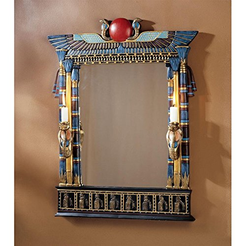 - Design Toscano Wadjet Egyptian Wall Mirror with Cobra Sconces