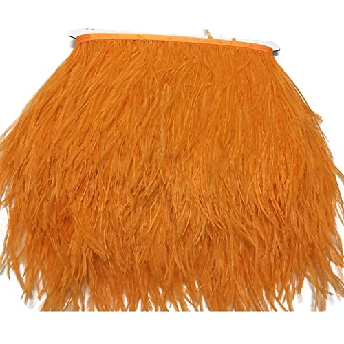 KOLIGHT Pack of 2 Yards Natural Dyed Ostrich Feathers Trim Fringe 4~5inch for DIY Dress Sewing Crafts Costumes Decoration (Orange) -