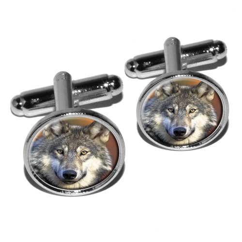 Gray Wolf with Fall Background Round Cufflink Set - Silver