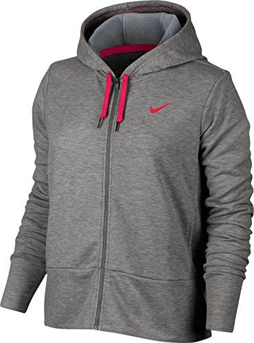 Nike Women's Dry Training Hoodie (S, Dark Grey Heather/Cool Grey/Rush - Zip Full Hoody Rush