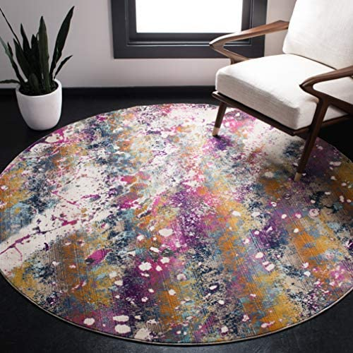 Safavieh Radiance Collection RAD111A Cream and Magenta Round Area Rug 6 7 in Diameter