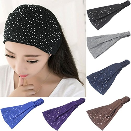 Yeshan Stretchy Athletic rhinestone Headbands