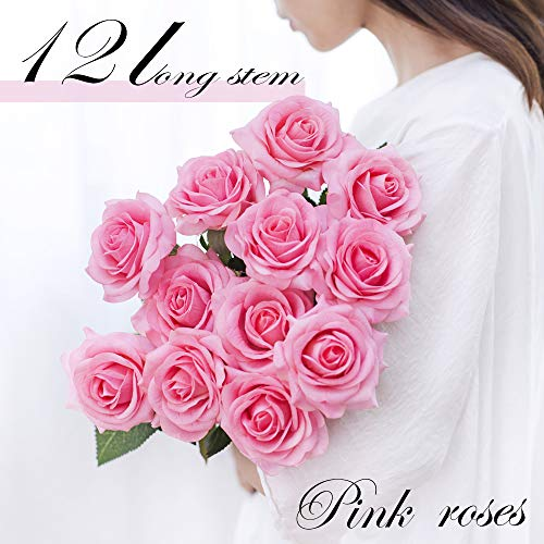 - Adorbay Silk Rose Artificial Flowers Bouquet Lifelike Real Touch Fake Roses Floral Arrangement Bloom DIY Wedding Decor centerpieces Kissing Balls 12 Stems (Pink)