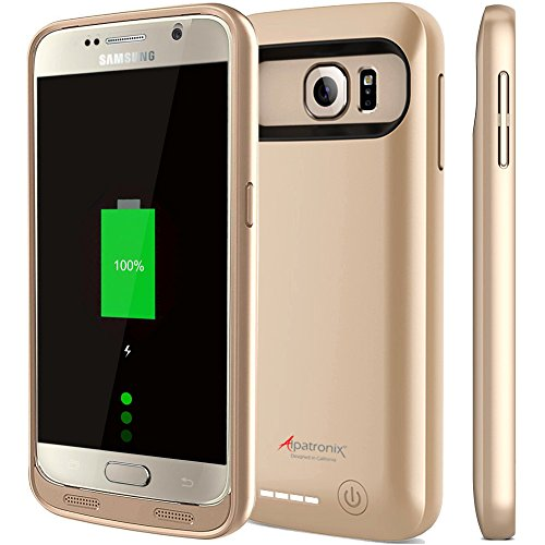 Price comparison product image Galaxy S6 Battery Case, Alpatronix BX410 3500mAh Slim External Protective Removable Rechargeable Portable Charging Case for Samsung Galaxy S6 Juice Bank Power Pack [Android OS 8.0+ (Oreo)] - Gold