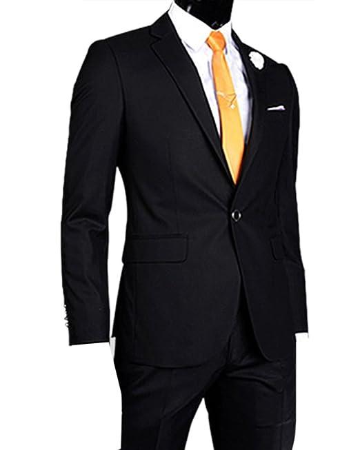 Americana para Hombre Slim Fit Chaqueta de Traje Blazer Negro XL: Amazon.es: Ropa y accesorios