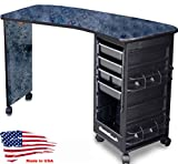 M600-E Econo Manicure Nail Table Curved Black Marble Lamininated Top Made in USA by Dina Meri
