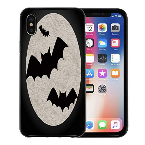 Semtomn Phone Case for Apple iPhone Xs case,Animal Halloween Featuring Bats and Full Moon Flying to Autumn Back Big for iPhone X Case,Rubber Border Protective Case,Black -