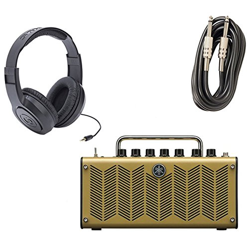 Yamaha THR5A Desktop Modeling Acoustic Guitar Amp with Samson SR350 Headphones and AxcessAbles I-010 Guitar Instrument Cables - 10 Feet by eStudioStar