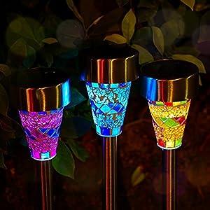 Ezyoutdoor 3 Pack Mosaics Style 15.5'' Solar Power LED Garden Light Solar Energy Outdoor Lamp For Lawn Outdoor LED Solar Garden Waterproof Light Random Color