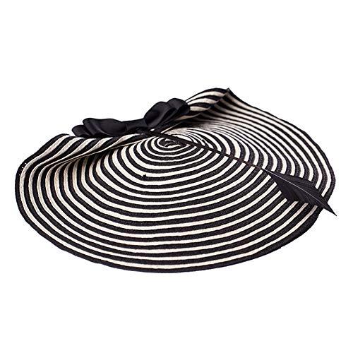 - Urchart Women's Vintage Hat Pillbox 1940's Style Bowknot Stripe Straw Comb Fascinator Headwear (Black)