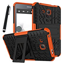"""Galaxy Tab A 7.0 Case, Tab A 7.0 Case, Asstar Shockproof Heavy Duty Rugged Hybrid Kickstand Protective Case for Samsung Galaxy Tab A 7"""" SM-T280 (2016 release) with 1x Stylus Pen for Free (Orange)"""