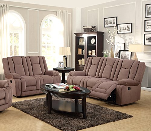 Mocha Reclining Loveseat (Kings Brand Furniture 2-Piece Mocha Microfiber Reclining Sofa & Loveseat Living Room Set)