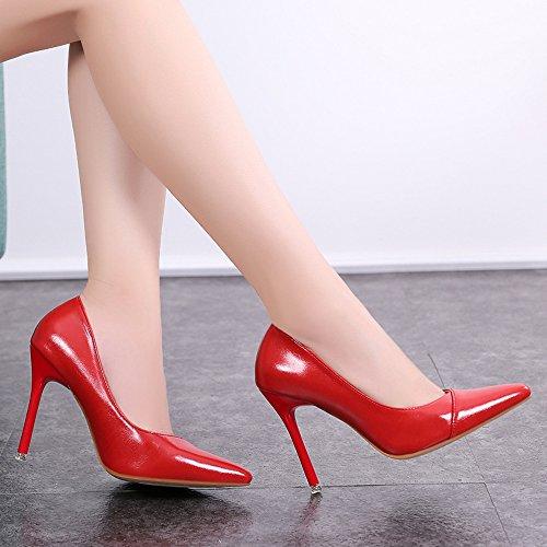 Wanson Femmes Talons Hauts PU Sexy Mode De La Bouche Peu Profonde Pointe Talons Aiguilles d'honneur Chaussures De Mariée Chaussures De Mariage Pompes Escarpins Red Talon Hauteur 10,5 Cm,XS