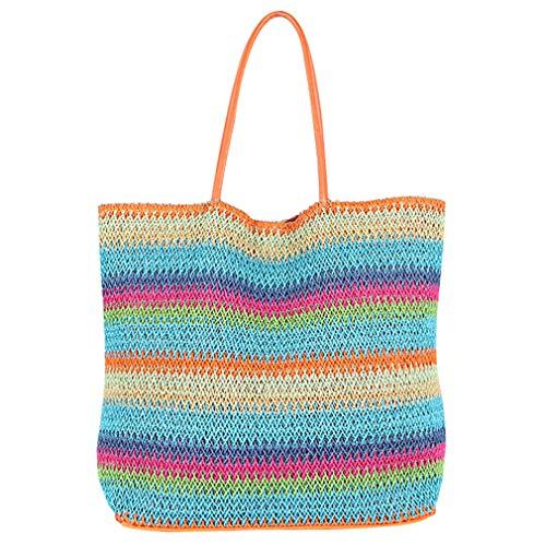 - Straw Packable Beach Tote Bag Reuse Tote Bag Hand Woven Bag Boho Style Sky Blue
