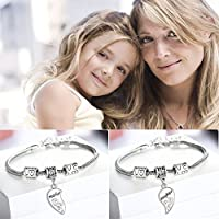 Sumanee 2Pcs Gift Love Bracelet Heart Bangle Jewelry Set Mother And Daughter