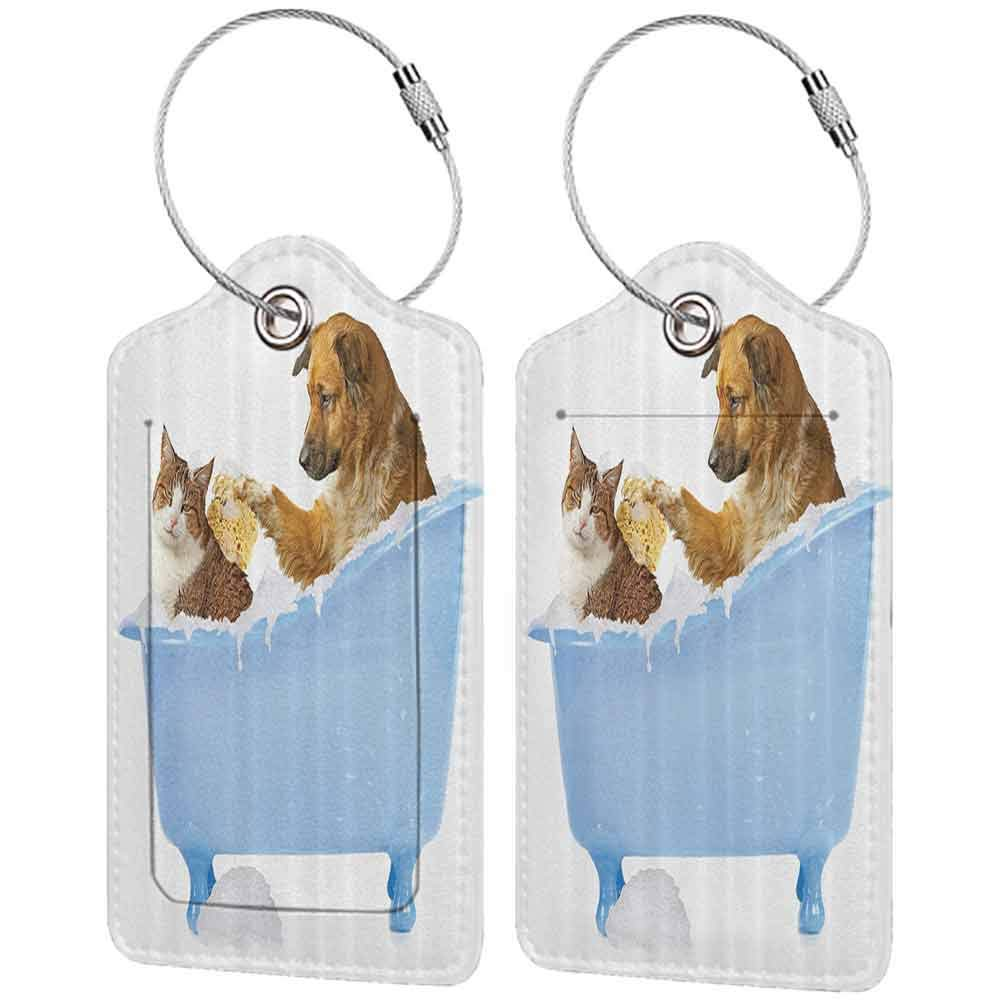 Durable luggage tag Cat Lover Decor Dog and Kitty in the Bathtub Together with Bubbles Shampooing Having Shower Fun Artsy Print Unisex Multi W2.7 x L4.6