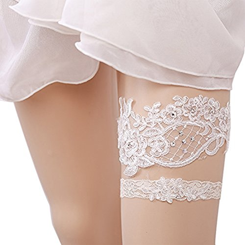 Wedding Lace Garter Set Tradition Vintage For Bridal And Bridesmaid (The Big Flower) Wedding Leg Garter