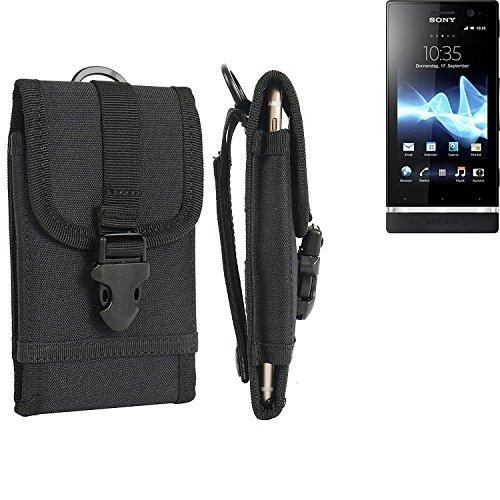 bolsa del cinturón / funda para Sony Xperia U, negro | caja del teléfono cubierta protectora bolso - K-S-Trade (TM)