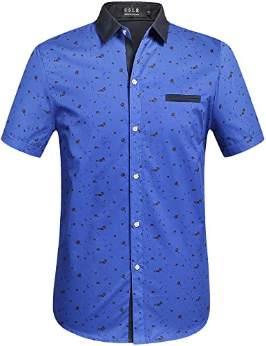 Blue Pattern Shirt (SSLR Men's Printing Pattern Casual Short Sleeve Shirt (Large, Royal Blue))